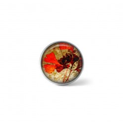 Clip-on snap button for  interchangeable jewelry : Gingko biloba autumn leaves theme