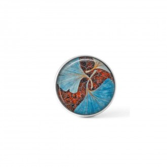 Cabochon / Button for Interchangeable Jewelry - Turquoise Ginkgo leaf theme