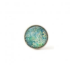 Bouton / Cabochon pour bijoux interchangeables- Tourbillons Turquoise.