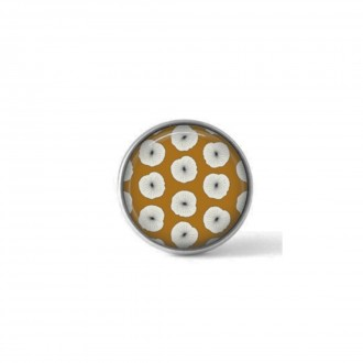 Interchangeable clip on button with a white flowers on mustard background theme
