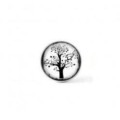 Bouton cabochon clipsable pour bijoux interchangeables : Arbre naïf noir et blanc