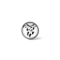 Clip-on snap button for  interchangeable jewelry : black and white dreamcatcher theme