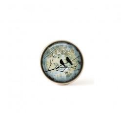 Bouton / Cabochon pour bijoux interchangeables- Oiseau sur la branche Sarcelle.