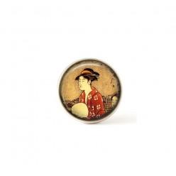 Interchangeable clip on buttons Japanese Geisha theme