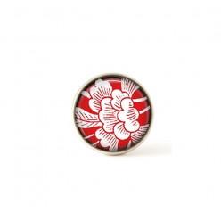 Bouton / Cabochon pour bijoux interchangeables- thème fleurs japonisantes sur fond rouge.