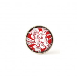 Interchangeable clip on buttons featuring a red Japanese floral theme