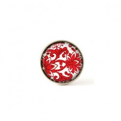 Interchangeable clip on buttons featuring a red damask theme
