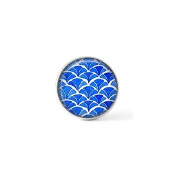 Cabochon / Button for Interchangeable Jewelry - Japanese watercolor pattern in indigo blue