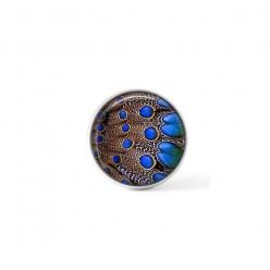 Cabochon / bouton pour bijoux interchangeables -  Plumage bleu royal