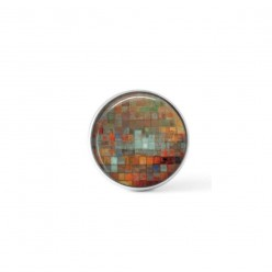 Cabochon / Button for Interchangeable Jewelry - abstract rust and light turquoise theme