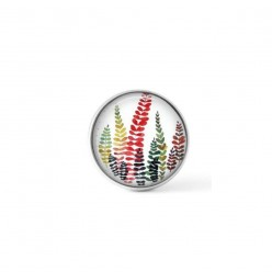 Cabochon / bouton pour bijoux interchangeables - Fougères multi-colores