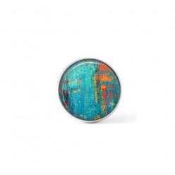 Cabochon / bouton pour bijoux interchangeables - Abstrait turquoise et orange