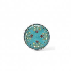 Cabochon / Button for Interchangeable Jewelry - Turquoise and chocolate flowers theme