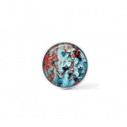 Cabochon / Button for Interchangeable Jewelry - Turquoise and red lichen theme