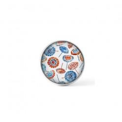 Cabochon / bouton pour bijoux interchangeables - Floral rouge et bleu