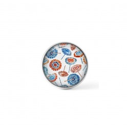 Cabochon / Button for Interchangeable Jewelry - Red and blue dotted flower theme