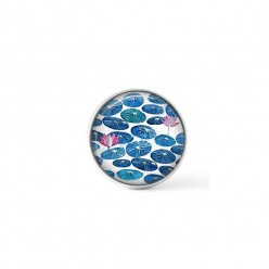 Cabochon / Button for Interchangeable Jewelry - Lilly leaves theme in turquoise and pink