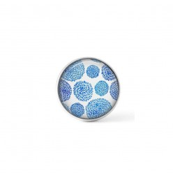 Cabochon / Button for Interchangeable Jewelry - Dotted flower theme in turquoise blue