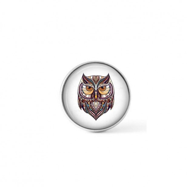 Interchangeable clip on buttons ethnic owl