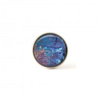 Bouton / Cabochon pour bijoux interchangeables motif bleu et rose minéral.