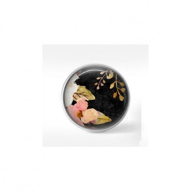 Clip-on snap button for  interchangeable jewelry : Boho floral pink flowers and leaves on black background