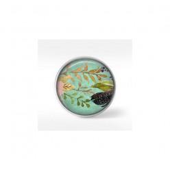 Bouton cabochon clipsable pour bijoux interchangeables : motif boho floral sur fond vert d'eau - fleurs roses et feuilles