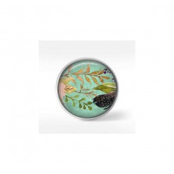 Clip-on snap button for  interchangeable jewelry : Boho floral leaves and feather on water-green background