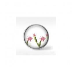 Bouton cabochon clipsable pour bijoux interchangeables : motif cactus rose et vert