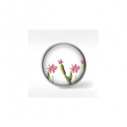 Clip-on snap button for  interchangeable jewelry : pretty green and pink cactus theme