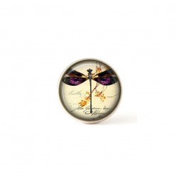 Interchangeable clip on buttons purple dragonfly