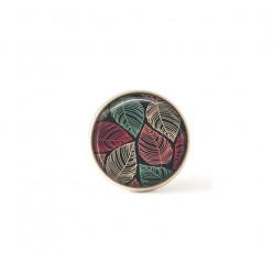 Bouton / Cabochon pour bijoux interchangeables feuilles rose et vert sauge