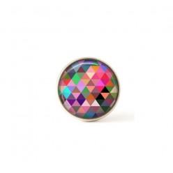 Bouton / Cabochon pour bijoux interchangeables- Triangles aquarelle multicolores rose
