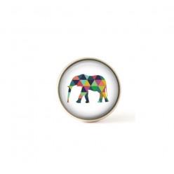 Bouton / Cabochon pour bijoux interchangeables éléphant multicolore.