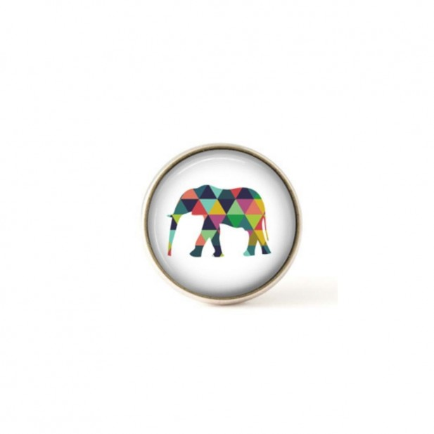 Interchangeable clip on buttons multicolored triangles elephant