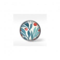 Bouton cabochon clipsable pour bijoux interchangeables : motif floral turquoise et orange
