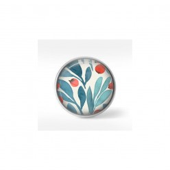 Clip-on snap button for  interchangeable jewelry : Turquoise and red olive leaves