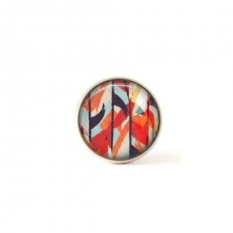 Interchangeable clip on buttons featuring a red and navy blue abstract watercolor theme