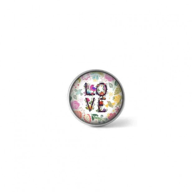 Clip-on snap button for  interchangeable jewelry : floral love theme