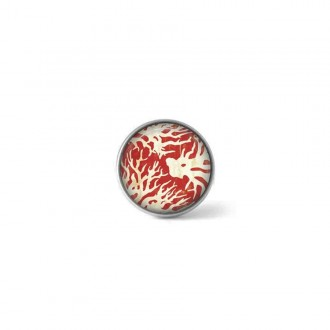 Clip-on snap button for interchangeable jewelry : Red and white coral theme