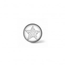 Clip-on snap button for interchangeable jewelry : black and white script star theme