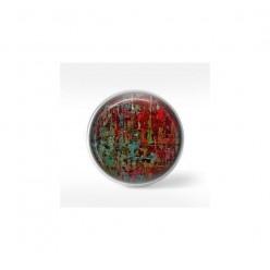 Bouton cabochon clipsable pour bijoux interchangeables : motif ficelles multicolores