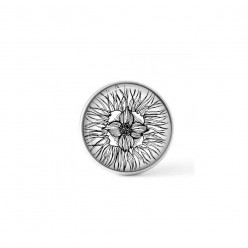 Cabochon / Button for Interchangeable Jewelry - Black and White hand-drawn Floral theme