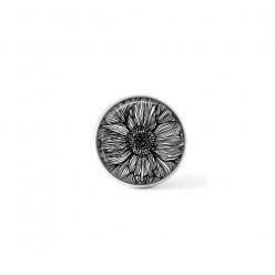 Cabochon / bouton pour bijoux interchangeables - Floral noir et blanc 3