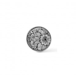 Cabochon / Button for Interchangeable Jewelry - Black and White Floral 2