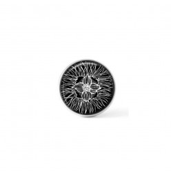 Cabochon / Button for Interchangeable Jewelry - Black and White Floral 1