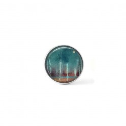 """Button cabochon clip for interchangeable jewelry with an abstract pattern """"forest and moon"""" in brown and turquoise"""