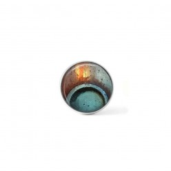 Button cabochon clip for interchangeable jewels with a round turquoise blue and rust abstract pattern