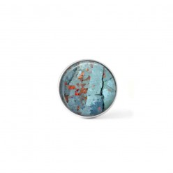 Snap button cabochon for interchangeable jewelry with a turquoise abstract pattern and red dots