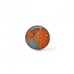 Interchangeable jewelry clip-on cabochon button with an abstract orange rust and celadon pattern