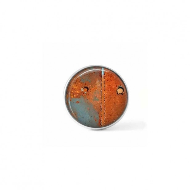 Bouton cabochon clipsable pour bijoux interchangeables avec un motif abstrait rouille orangée et vert céladon